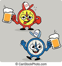 Drunk alarm clocks serving beer. Vector Illustration