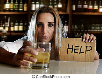 drunk alcoholic blond woman drinking alcohol asking for help in bar or pub