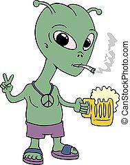 drunk alien draw