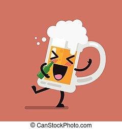 Drunk beer glass character