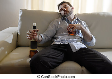 drunk business man wasted and whiskey bottle in alcoholism -...