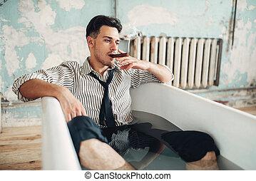 Drunk businessman bankrupt in bathtub, suicide man