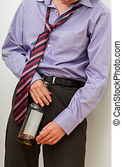 Drunk businessman with whisky