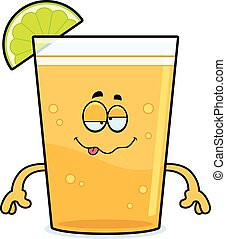 Drunk Cartoon Beer with Lime - A cartoon illustration of a...