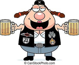 Drunk Cartoon Biker Woman - A cartoon illustration of a...