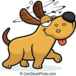 Drunk Cartoon Dog - A cartoon illustration of a dog looking...