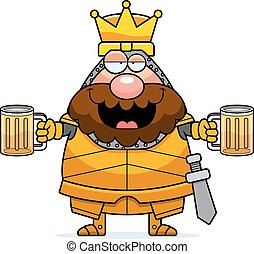 A cartoon illustration of a king in armor looking drunk.