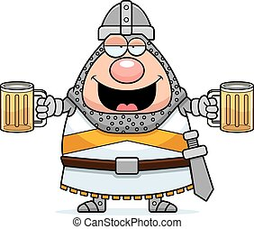 Drunk Cartoon Knight - A cartoon illustration of a knight...