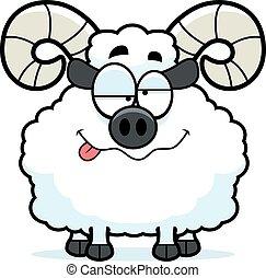 Drunk Cartoon Ram - A cartoon illustration of a ram looking ...
