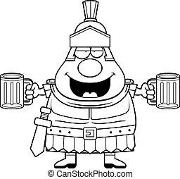 Drunk Cartoon Roman Centurion - A cartoon illustration of a...