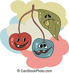 Drunk cherry mascot cartoon character. Vector illustration