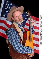 Drunk cowboy with guitar