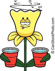 Drunk Daffodil - A cartoon illustration of a daffodil ...