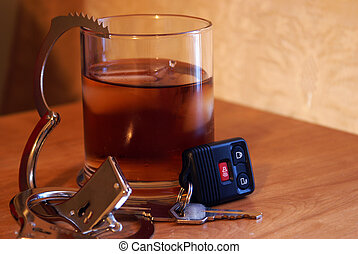 A conceptual image on the subject of drunk drivers and the consequences of such actions.