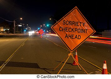 Drunk Driving - A DUI check point in Anaheim, CA.