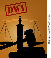 Drunk driving concept - Court gavel and scales with DWI text...