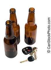 Drunk Driving Concept - Some car keys shot alongside some...