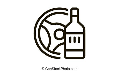 drunk driving Icon Animation. black drunk driving animated icon on white background