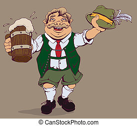 Drunk fat German with beer. Vector cartoon illustration