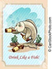 Drunk fish drinking alcohol