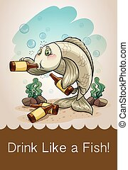Drunk fish drinking alcohol illustration