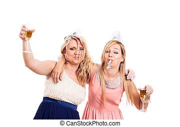 Drunk girls celebrate