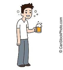 Drunk guy with beer