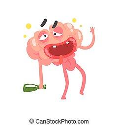 Drunk humanized cartoon brain character walking with a bottle, intellect human organ vector Illustration