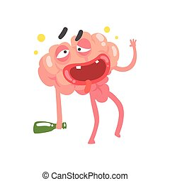 Drunk humanized cartoon brain character walking with a bottle, intellect human organ vector Illustration