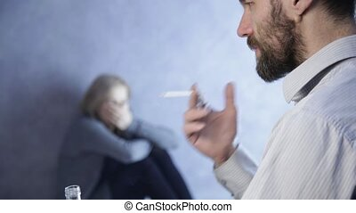 drunk husband takes the belt, wife shrank in fright near a...