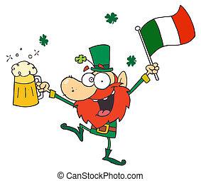 Drunk Leprechuan Dancing With Beer