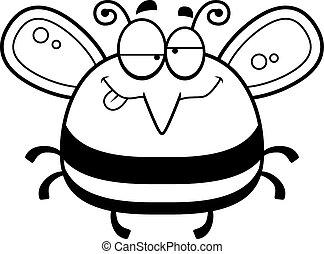 Drunk Little Bee - A cartoon illustration of a bee looking...