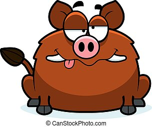 Drunk Little Boar - A cartoon illustration of a boar looking...
