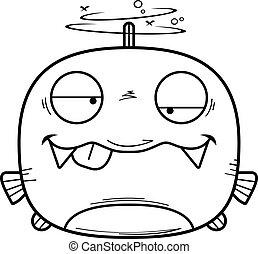 Drunk Little Piranha - A cartoon illustration of a piranha...