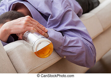 Drunk man addicted to alcohol - Drunk sleeping man addicted...