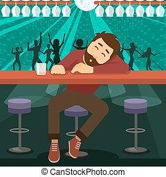 Drunk man asleep at bar