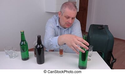 Drunk man at the table