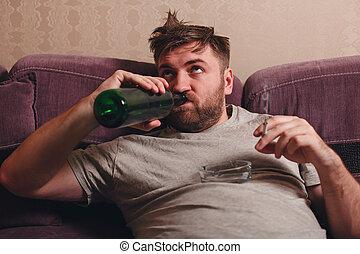 Drunk man drink alcohol.