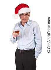 Drunk Man in Christmas Santa Hat