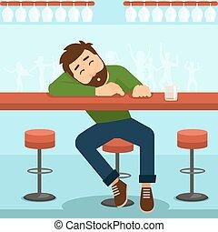 Drunk man vector illustration
