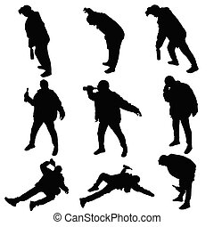drunk man vector silhouette illustration