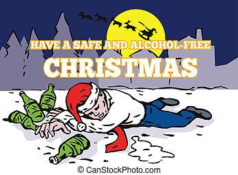 Drunk Man Wearing Santa Hat