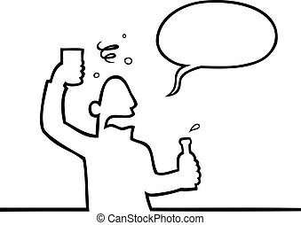 Drunk man with alcoholic beverage - Black line art ...