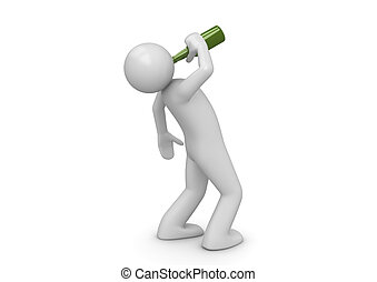 Drunk man with green bottle - 3d characters isolated on ...