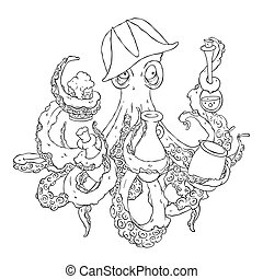 Drunk octopus-pirate with a drink in the tentacles. Drunkard in a cocked hat askew.