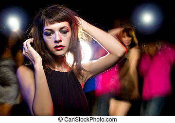 Drunk or High at a Nightclub - Disheveled drunk or female...