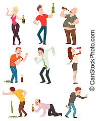 Vector cartoon drunk people with alcohol bottle illustration. Drunk people bottle man and glass alcoholic wine party alcoholism lifestyle drunk people. Drunk people happy handsome single guy.