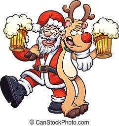 Drunk Santa Claus and reindeer. Vector clip art illustration...