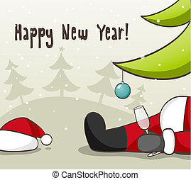 Drunk Santa Claus . EPS 10 vector iluustration for Christmas...