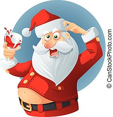 Drunk Santa Claus Vector Cartoon - Vector illustration of a...